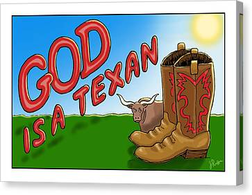 God Is A Texan Canvas Print by Jerry Ruffin