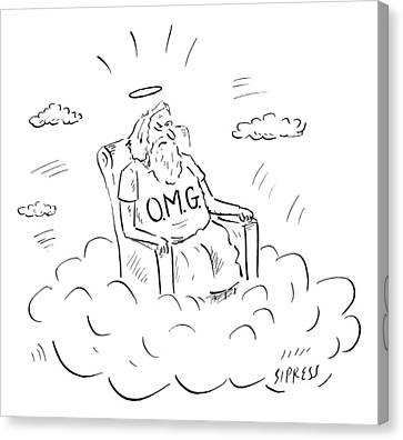 Shirt Canvas Print - God Sits On A Throne Wearing A Shirt Reading by David Sipress