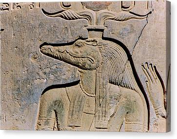 Ancient Egyptian Canvas Print - God Sobek Painting Carved On Remains by Panoramic Images
