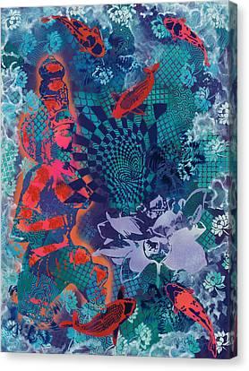 Goddess And Koi Contemplate Vortex Canvas Print by Paula Ferree