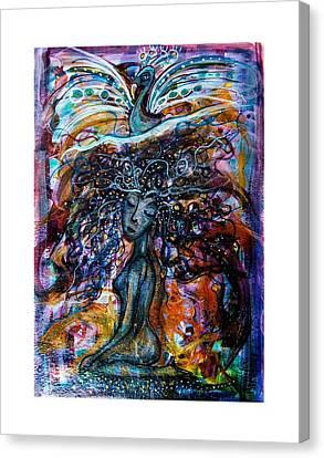 Goddess And Peacock Canvas Print