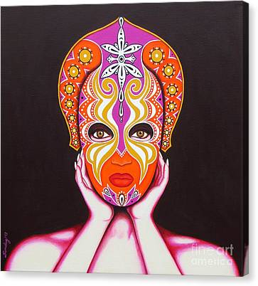 Canvas Print featuring the painting Goddess In Pink by Joseph Sonday