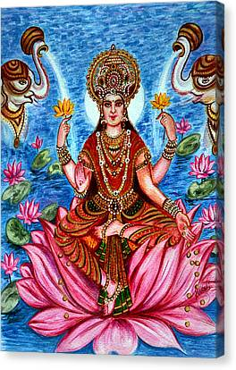 Canvas Print featuring the painting Goddess Lakshmi by Harsh Malik