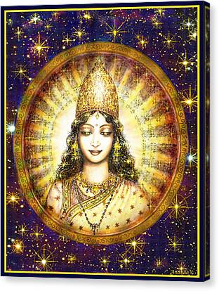 Gold Star Mother Canvas Print - Goddess Of Stars by Ananda Vdovic
