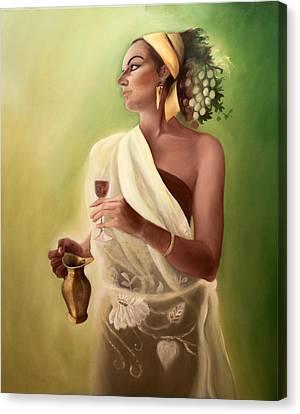 Goddess Of Wine And Fruit Canvas Print by Gabriela Junosova