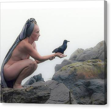 Goddess With Raven Canvas Print