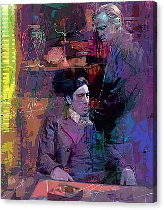 Michael Corleone Canvas Print - Godfather And Son by David Lloyd Glover