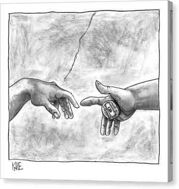 God's Hand Touching Adam's Hand A La Sistine Canvas Print