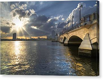 God's Light Over West Palm Beach Canvas Print by Debra and Dave Vanderlaan