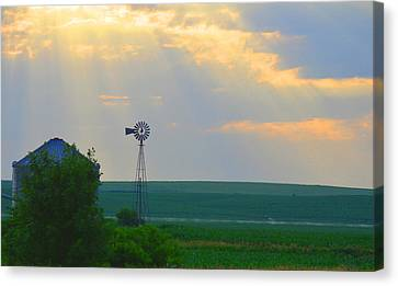 God's Light Over Windmill Canvas Print