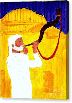 God's Shofar Blast Is Calling Israel And Judah  Keep The Sabbath Holy Build The Jerusalem Temple 1 Canvas Print by Richard W Linford