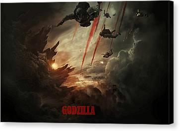 Godzilla 2014 C Canvas Print by Movie Poster Prints