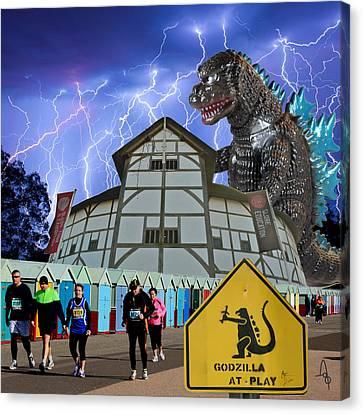 Godzilla At Play Canvas Print
