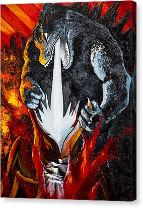 Godzilla Destroying Muto Canvas Print by Paul Regalado