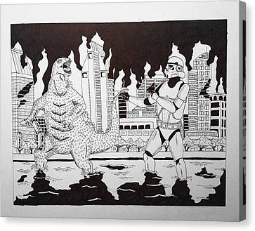 Godzilla Vs. Stormtrooper Canvas Print by Rodrigo Jimenez