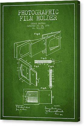 George Eastman Film Holder Patent From 1896 - Green Canvas Print