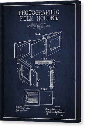 George Eastman Film Holder Patent From 1896 - Navy Blue Canvas Print