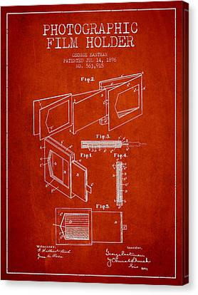 George Eastman Film Holder Patent From 1896 - Red Canvas Print by Aged Pixel