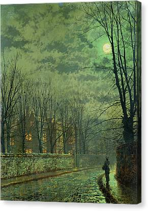 Going Home By Moonlight Canvas Print by John Atkinson Grimshaw