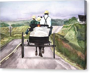 Going Home From Market Canvas Print by Susan Crossman Buscho