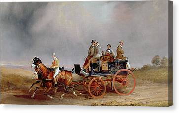 Going Shooting A Postillion And Pair With A Game Cart Canvas Print by Charles Cooper Henderson