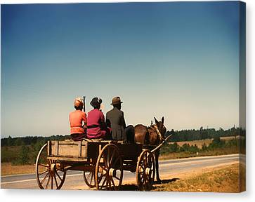 Horse And Cart Canvas Print - Going To Town - Greene County Georgia 1941 by Mountain Dreams
