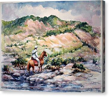 Canvas Print featuring the painting Going Up To The Hills by Laila Awad Jamaleldin