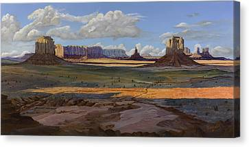 Gold Across The Valley Monument Valley Canvas Print