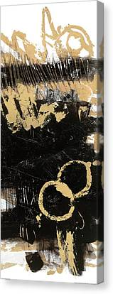 Gold And Blackabstract Panel II Canvas Print by Mike Schick