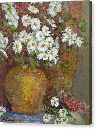 Gold Bowl And Daisies Canvas Print by Richard James Digance