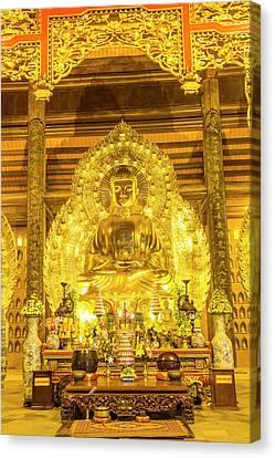 Gold Buddha, Bai Dinh, Ninh Binh Canvas Print by Peter Adams