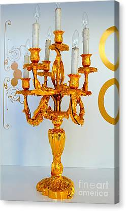 Gold Candelabra Canvas Print by Mary Deal