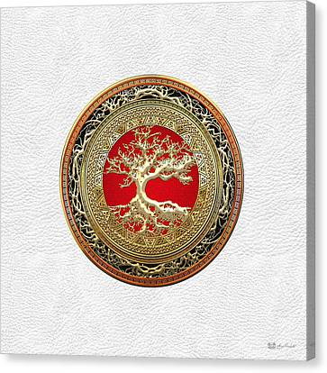 Gold Celtic Tree Of Life On White Leather  Canvas Print by Serge Averbukh
