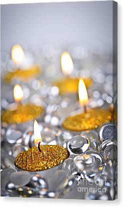 Gold Christmas Candles Canvas Print