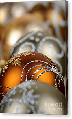 Rich Canvas Print - Gold Christmas Ornaments by Elena Elisseeva