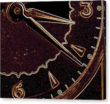 Canvas Print featuring the photograph Gold Clock by Michael Dohnalek