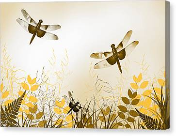 Gold Dragonfly Art Canvas Print