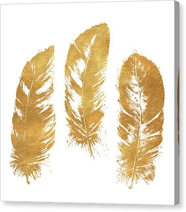 Gold Feather Square Canvas Print by Patricia Pinto