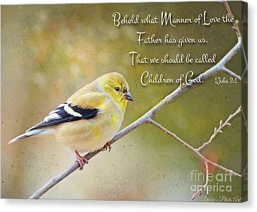 Gold Finch On Twig With Verse Canvas Print by Debbie Portwood