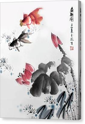 Canvas Print featuring the photograph Gold Fish In Lotus Pond by Yufeng Wang