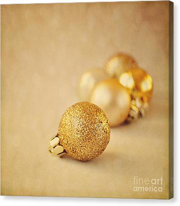 Gold Glittery Christmas Baubles Canvas Print by Lyn Randle
