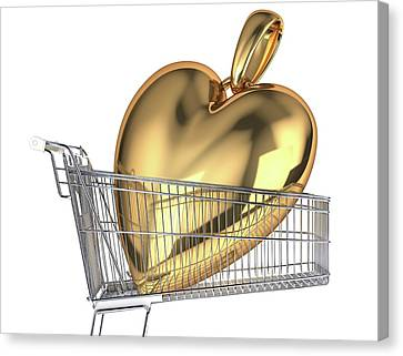 Gold Heart In A Shopping Trolley Canvas Print by Leonello Calvetti