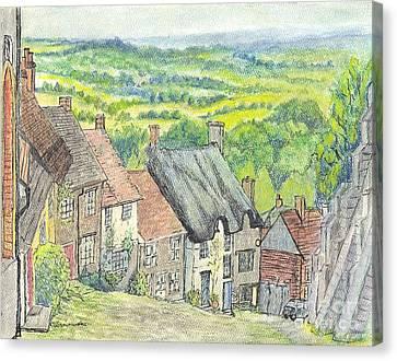 Gold Hill Shaftesbury Dorset England Canvas Print by Carol Wisniewski