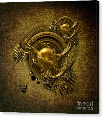Canvas Print featuring the digital art Gold Birds by Alexa Szlavics