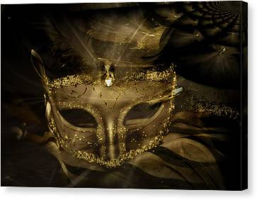 Gold In The Mask Canvas Print by Amanda Eberly-Kudamik