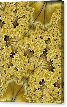 Canvas Print featuring the digital art Gold Leaf by Lea Wiggins