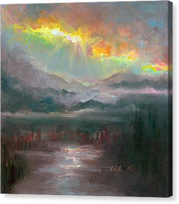 Gold Lining - Chugach Mountain Range En Plein Air Canvas Print by Talya Johnson