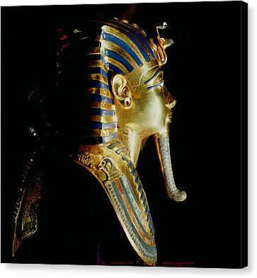 Gold Mask Of Tutankhamun, From The Tomb Of Tutankhamun, C.1370-1352 Bc New Kingdom Gold Inlaid Canvas Print by Egyptian 18th Dynasty