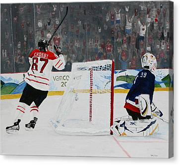 Gold Medal Goal Canvas Print by Betty-Anne McDonald