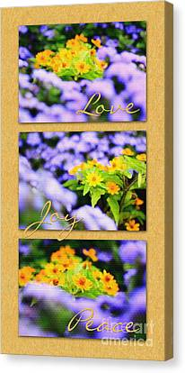 Gold Medallion Flowers With Love Joy Peace Canvas Print by Beverly Claire Kaiya